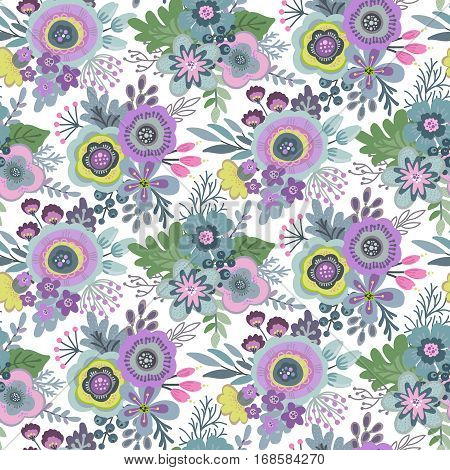 Seamless pattern with bouquets of flowers, leaves, branches and berries. Vector colorful endless floral background. The elegant illustration for fashion prints, fabric, scrapbook.