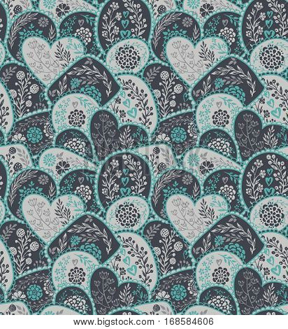 Vector seamless pattern in retro style with hand drawn flowers and branches. Floral endless background for fabric, textile, wrapping. Valentine Day, wedding theme for design.