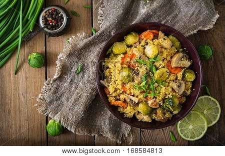 Vegetarian Couscous Salad With Brussels Sprouts, Mushrooms, Carrots And Spices. Fitness Food. Proper