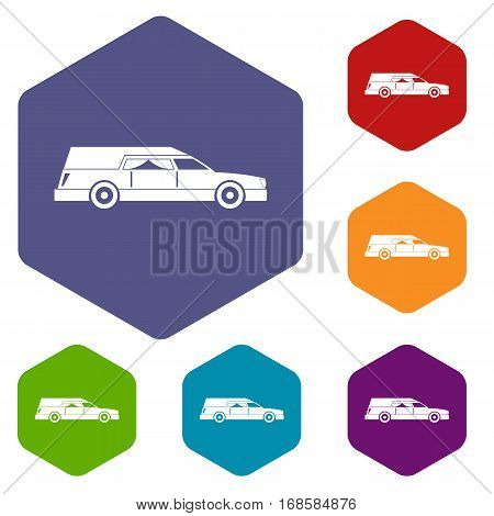 Hearse icons set rhombus in different colors isolated on white background
