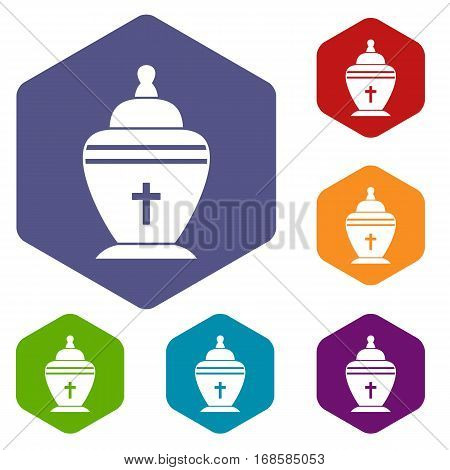 Urn icons set rhombus in different colors isolated on white background