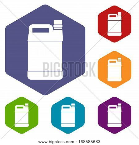 Jerrycan icons set rhombus in different colors isolated on white background