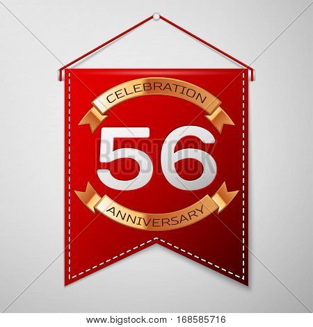Red pennant with inscription Fifty six Years Anniversary Celebration Design over a grey background. Golden ribbon. Colorful template elements for your birthday party. Vector illustration