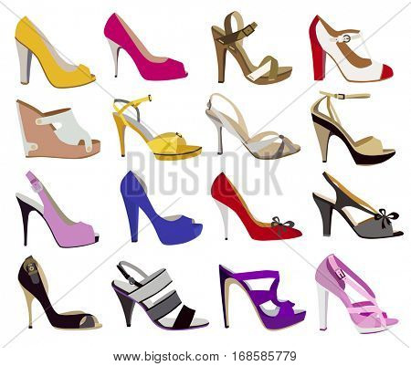 set of fashion women's shoes (vector illustration)