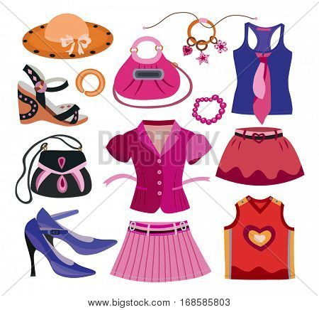 set of fashion women's clothes (vector illustration)
