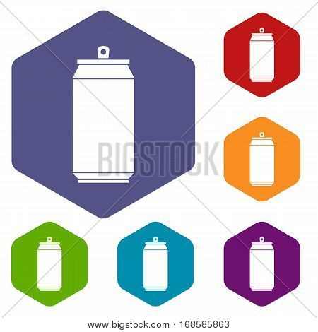Can icons set rhombus in different colors isolated on white background