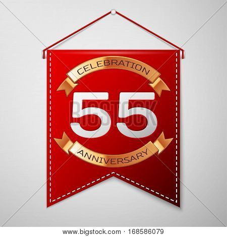 Red pennant with inscription Fifty five Years Anniversary Celebration Design over a grey background. Golden ribbon. Colorful template elements for your birthday party. Vector illustration