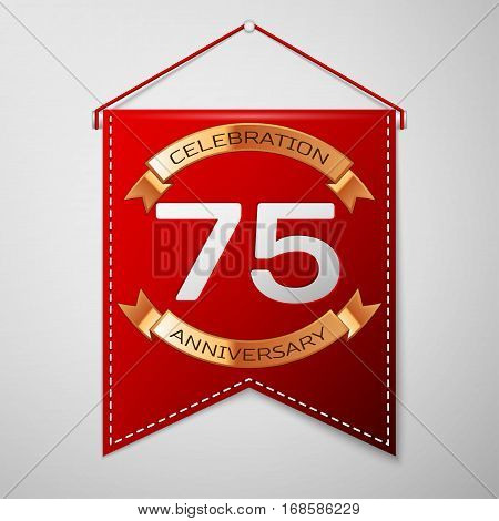Red pennant with inscription Seventy five Years Anniversary Celebration Design over a grey background. Golden ribbon. Colorful template elements for your birthday party. Vector illustration