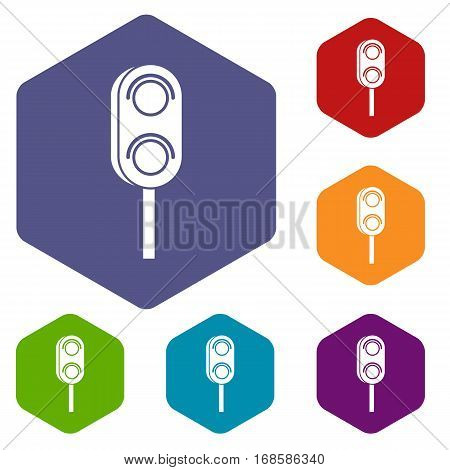 Semaphore trafficlight icons set rhombus in different colors isolated on white background