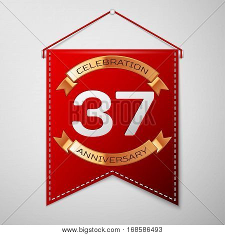 Red pennant with inscription Thirty seven Years Anniversary Celebration Design over a grey background. Golden ribbon. Colorful template elements for your birthday party. Vector illustration
