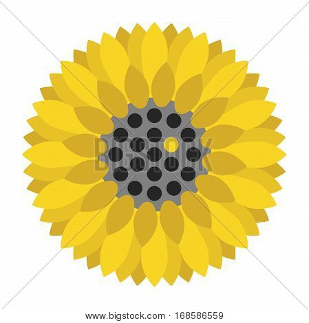 Sunflower with a unique yellow seed among many black ones. Uniqueness creativity and variety concept. Flat design. Vector illustration. EPS 8 no transparency