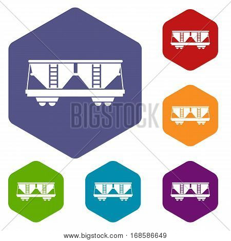 Freight railroad car icons set rhombus in different colors isolated on white background