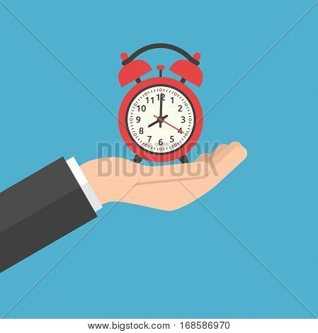 Hand holding red alarm clock showing 8 o'clock on blue background. Time start urgency and sleep concept. Flat design. Vector illustration. EPS 8 no transparency