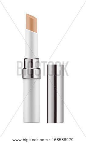 Mock-up of concealer stick for makeup. Realistic package of cosmetic corrective product for beauty skin. 3d blank template of container. Vector illustration isolated on white background.