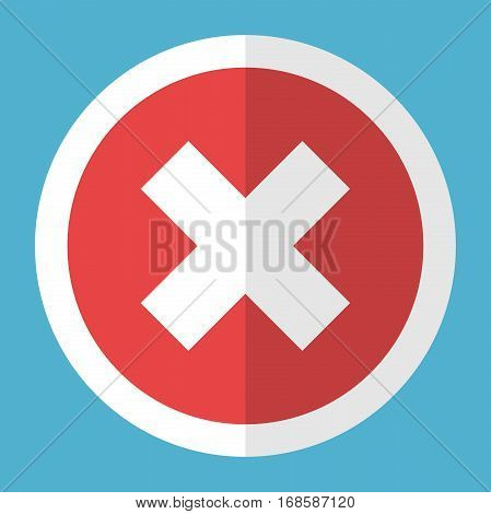 White cross in a red circle with a frame on blue background. Wrong reject and poll concept. Flat design. Vector illustration. EPS 8 no transparency