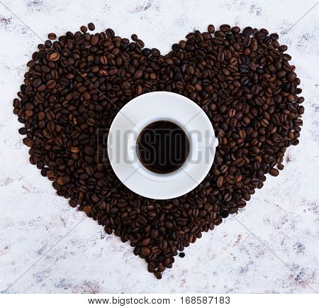 Cup Of Coffe On White Background. Top View
