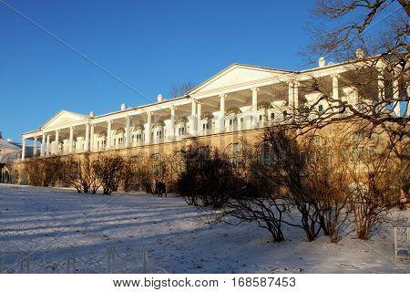 TSARSKOYE SELO (PUSHKIN) RUSSIA - JANUARY 04 2017: Cameron gallery the Catherine Palace in Tsarskoye Selo.