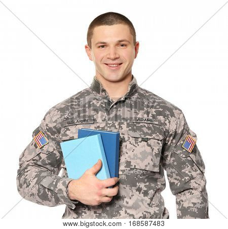 Cadet of military school on white background