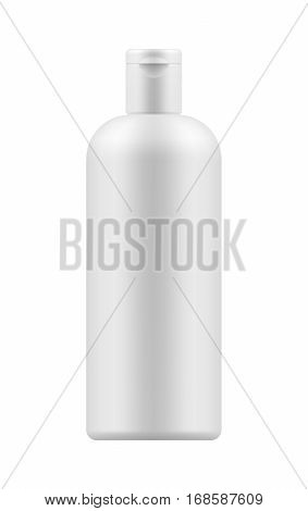 Vector blank template. Mock-up of white plastic bottle with cap. Realistic 3d container for body lotion, shampoo, milk for skin care. Empty and clean packaging for cosmetic product. Isolated on white