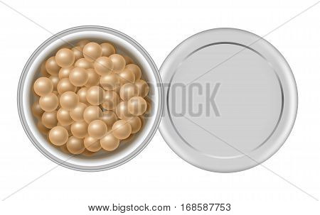 3d open container with face powder pearls. Package of colored meteorites cosmetic corrector for makeup in box. Realistic balls for make-up in jar - vector illustration isolated on white background.