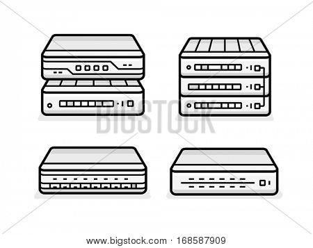 Soho network router icon set. Network equipment for small busines. Data network hardware series vector illustration