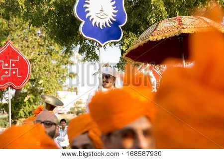 UDAIPUR, INDIA - CIRCA NOV 2016: People celebrating a street wedding in Udaipur, India