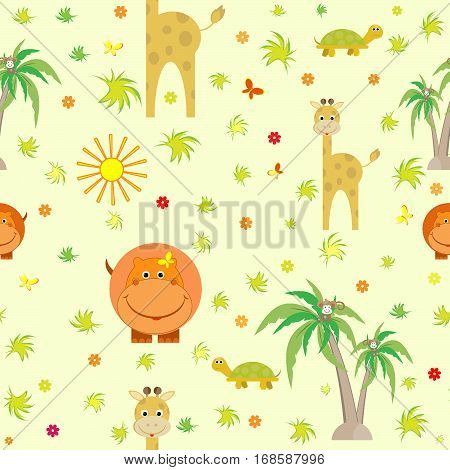 cute animals giraffe, hippo, turtle, cartoon, palm trees, monkey kids seamless pattern