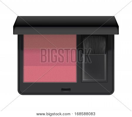 Realistic of case with rouge. Blush for makeup in black plastic case with brush. Cosmetic blusher for glamour make-up and beauty. 3d vector illustration isolated on white background.