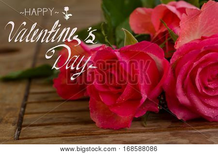 bouquet of pink roses in water droplets on wooden table with happy valentines day greeting
