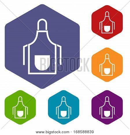 Kitchen apron icons set rhombus in different colors isolated on white background