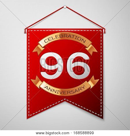 Red pennant with inscription Ninety six Years Anniversary Celebration Design over a grey background. Golden ribbon. Colorful template elements for your birthday party. Vector illustration