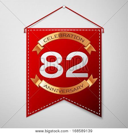 Red pennant with inscription Eighty two Years Anniversary Celebration Design over a grey background. Golden ribbon. Colorful template elements for your birthday party. Vector illustration