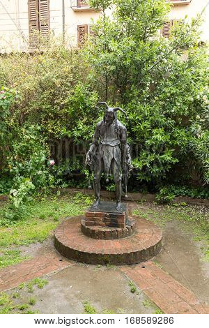 MANTUA ITALY - MAY 2 2016: Statue of Rigoletto outside his house in Mantua. Lombardy Italy.