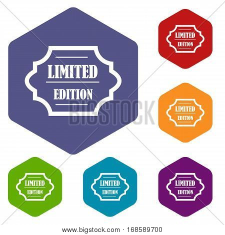 Limited edition icons set rhombus in different colors isolated on white background