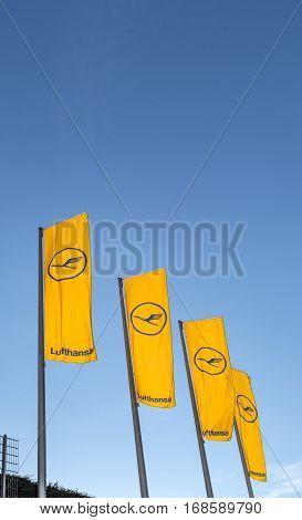 Lufthansa Flag With Lufthansa Symbol