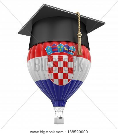 3D Illustration. Hot Air Balloon with Croatian Flag and Graduation cap. Image with clipping path
