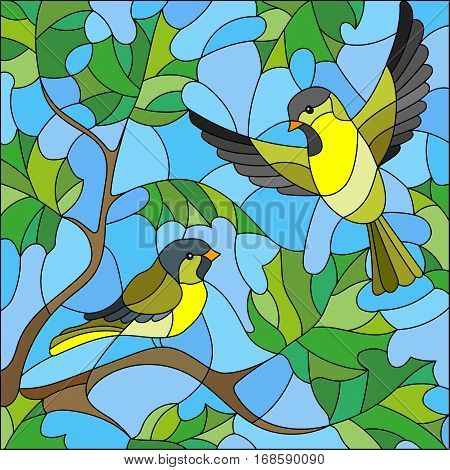 Illustration in stained glass style on the theme of summer two siskin in the sky and maple leaves
