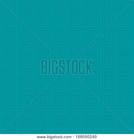 Turquoise Classic meander seamless pattern. Greek key neutral tileable linear vector background.