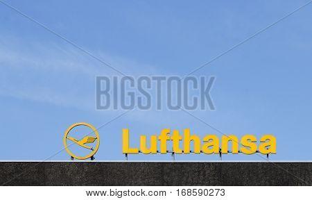 Logo Of The Brand Lufthansa In Hamburg
