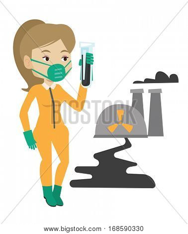 Woman in radiation protective suit standing on the background of nuclear power plant. Woman in radiation protective suit holding test-tube. Vector flat design illustration isolated on white background
