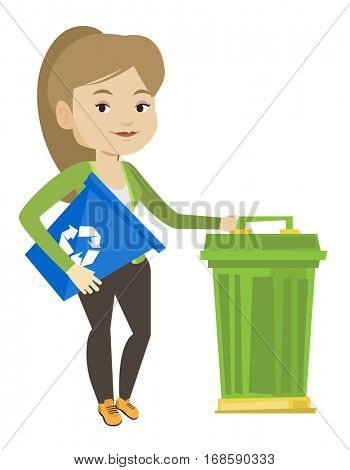 Young caucasian woman carrying recycling bin. Smiling woman holding recycling bin while standing near a trash can. Waste recycling concept. Vector flat design illustration isolated on white background