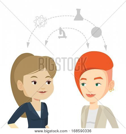 Two caucasian students sharing with the ideas during brainstorming. Young students brainstorming. Concept of brainstorming in education. Vector flat design illustration isolated on white background.