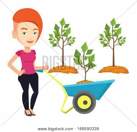 Gardener pushing wheelbarrow with tree and dirt in the park. Caucasian gardener with wheelbarrow on the background of newly planted trees. Vector flat design illustration isolated on white background.