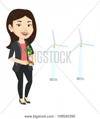 Young caucasian female worker of wind farm. Woman holding green small plant on the background of wind turbines. Green energy concept. Vector flat design illustration isolated on white background.