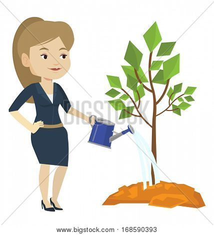 Caucasian friendly woman watering tree. Female gardener with watering can. Young woman gardening. Concept of environmental protection. Vector flat design illustration isolated on white background.