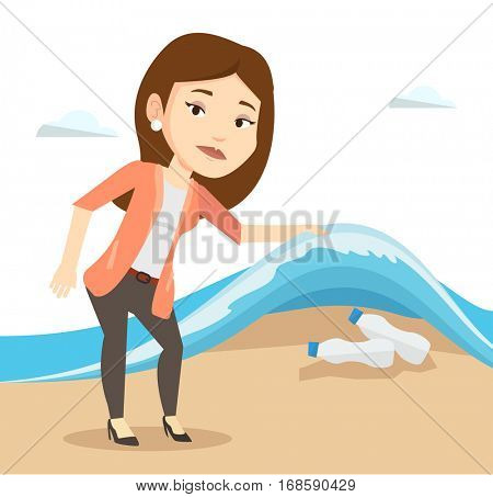 Young woman showing plastic bottles under water of sea. Woman collecting plastic bottles from water. Water and plastic pollution concept. Vector flat design illustration isolated on white background.