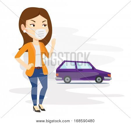 Young caucasian woman standing on the background of car with traffic fumes. Woman wearing mask to reduce the effect of traffic pollution. Vector flat design illustration isolated on white background.