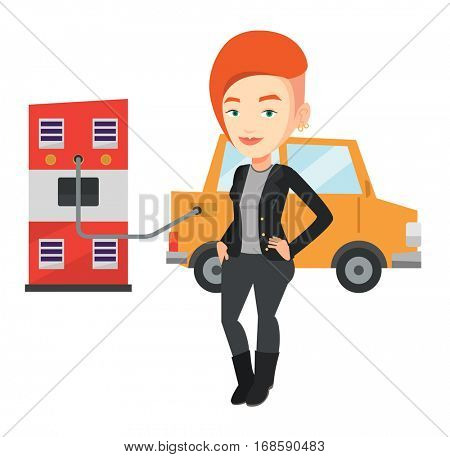 Caucasian woman charging electric car at charging station. Woman standing near power supply for electric car. Charging of electric car. Vector flat design illustration isolated on white background.