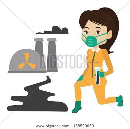 Caucasian scientist in gas mask and radiation protective suit holding test-tube with black liquid on the background of nuclear power plant. Vector flat design illustration isolated on white background
