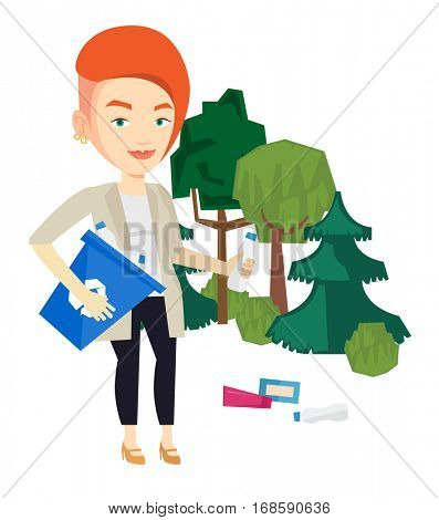 Woman with recycling bin in hand picking up used plastic bottles. Young woman collecting garbage in recycle bin. Waste recycling concept. Vector flat design illustration isolated on white background.